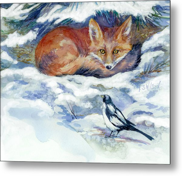Red Fox With Magpie Metal Print by Peggy Wilson