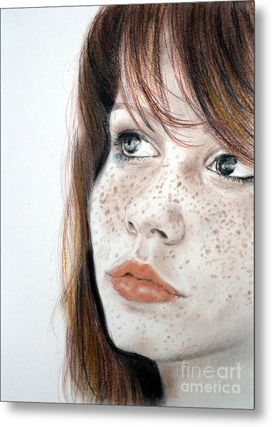 Red Hair And Freckled Beauty Metal Print