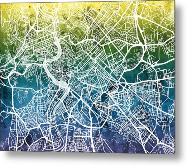 Rome Italy City Street Map Metal Print