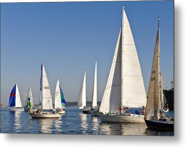 Sailboat Race Metal Print by Tom Dowd