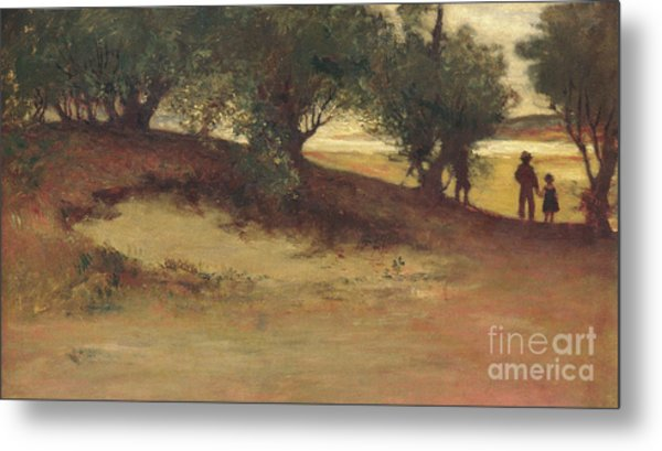 Sand Bank With Willows, Magnolia Metal Print