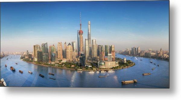 Shanghai Skyline With Modern Urban Skyscrapers Metal Print by Anek Suwannaphoom