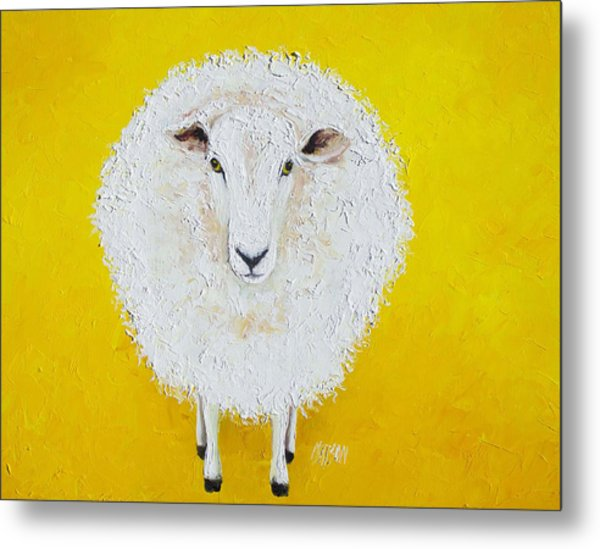 Sheep Painting On Yellow Background Metal Print