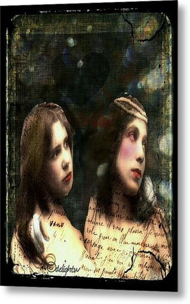 Metal Print featuring the digital art Two Sisters by Delight Worthyn