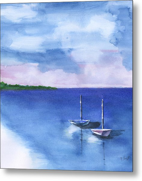 2 Still Boats Metal Print