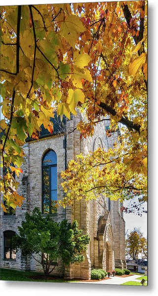 Stone Chapel Fall Metal Print