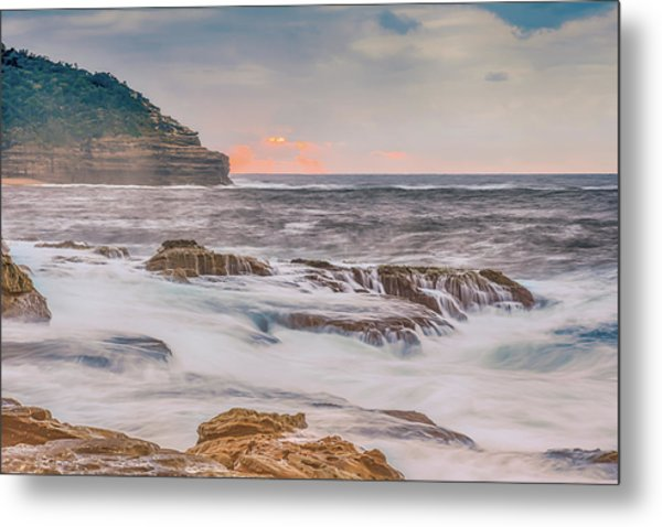 Sunrise Seascape And Headland Metal Print