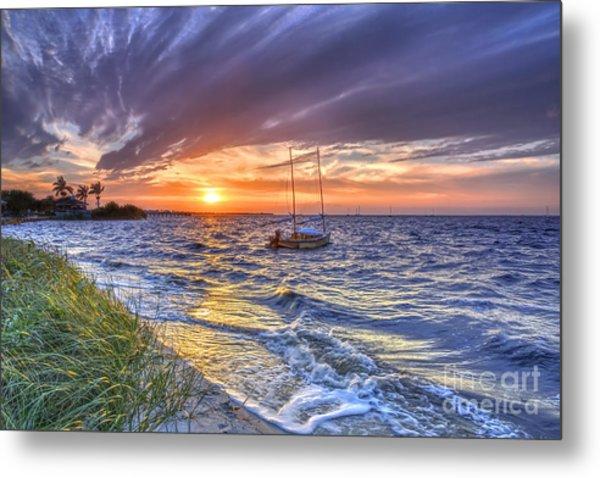 Sunset Sail Metal Print by Rick Mann