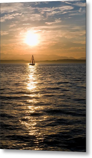 Sunset Sail Metal Print by Tom Dowd