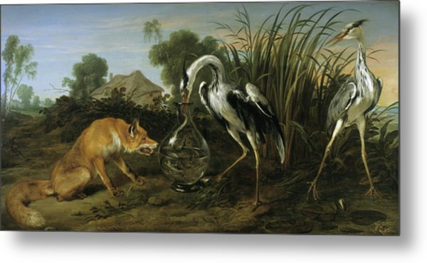 The Fox Visiting The Heron Metal Print