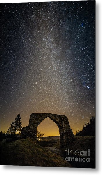 The Milky Way Over The Hafod Arch, Ceredigion Wales Uk Metal Print