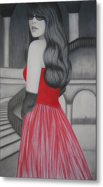 The Red Dress Metal Print