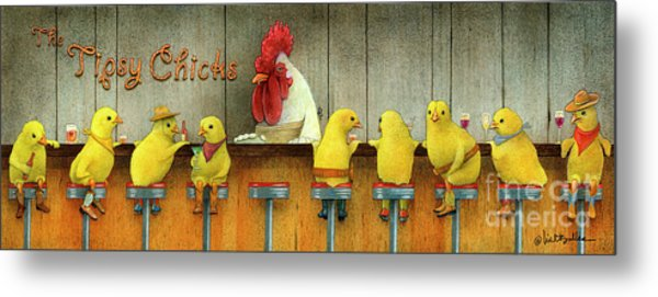 Tipsy Chicks Metal Print