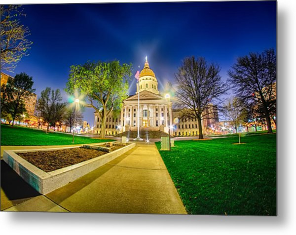 Metal Print featuring the photograph Topeka Kansas Downtown At Night by Alex Grichenko