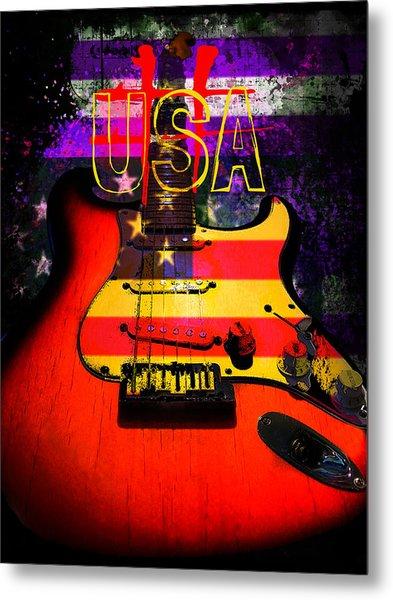 Red Usa Flag Guitar  Metal Print