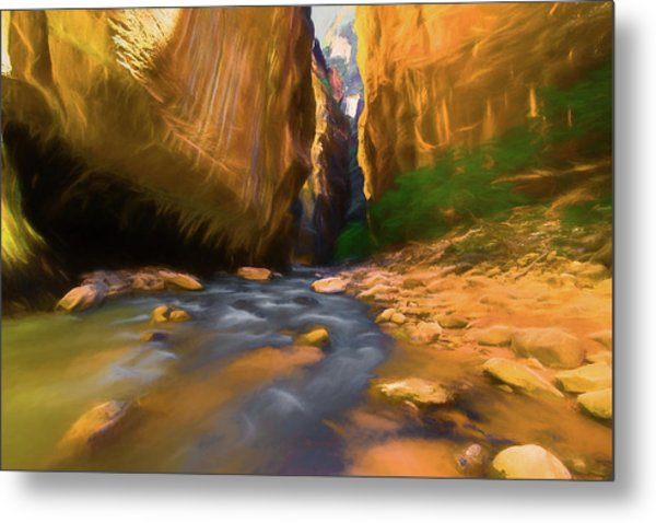 Virgin River - Zion National Park Watercolor Metal Print