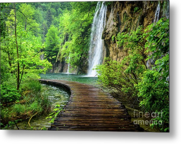 Walking Through Waterfalls - Plitvice Lakes National Park, Croatia Metal Print