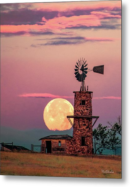 Windmill At Moonset Metal Print