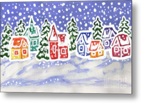Winter Landscape With Multicolor Houses, Painting Metal Print