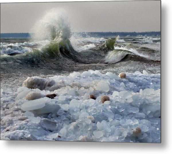 Winter Waves At Whitefish Dunes Metal Print