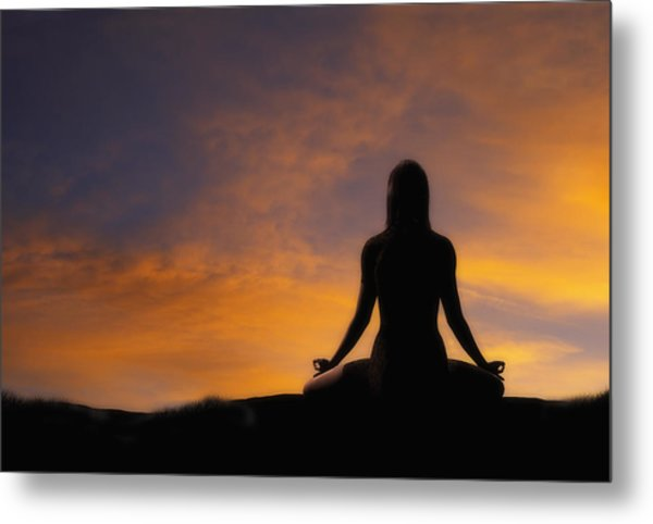 Woman Practicing Yoga Metal Print