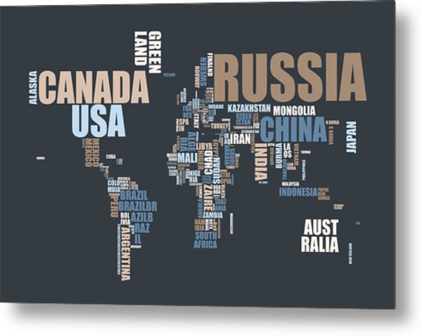 World Map In Words Metal Print