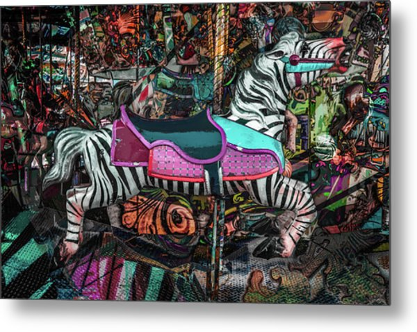 Metal Print featuring the photograph Zebra Carousel by Michael Arend