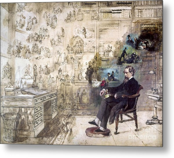 Charles Dickens 1812-1870.  To License For Professional Use Visit Granger.com Metal Print