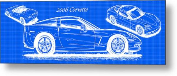 2006 Corvette Blueprint Series Metal Print