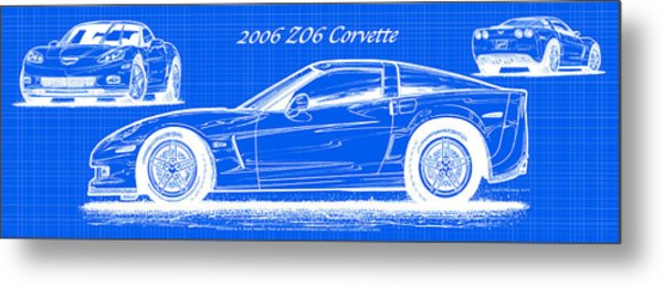 2006 Z06 Corvette Blueprint Series Metal Print