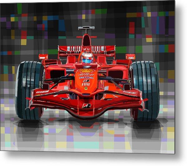 2008 Ferrari F1 Racing Car Kimi Raikkonen Metal Print