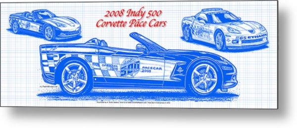 2008 Indy 500 Corvette Pace Car Blueprint Series Metal Print