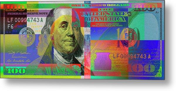 2009 Series Pop Art Colorized U. S. One Hundred Dollar Bill No. 1 Metal Print