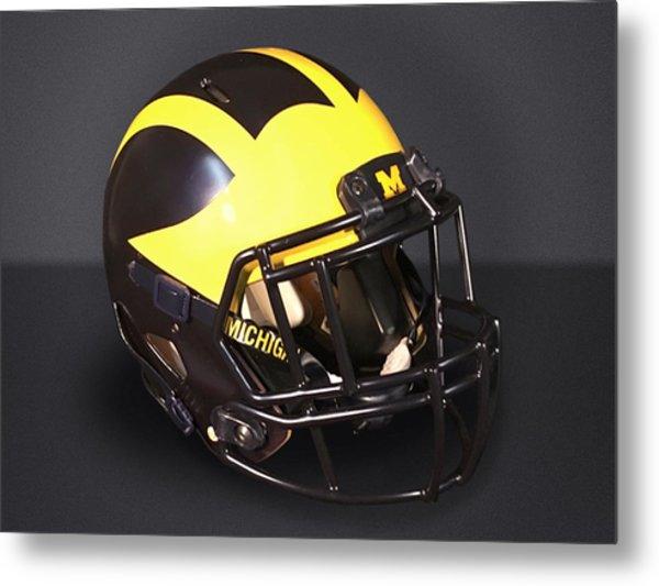 Metal Print featuring the photograph 2010s Wolverine Helmet by Michigan Helmet