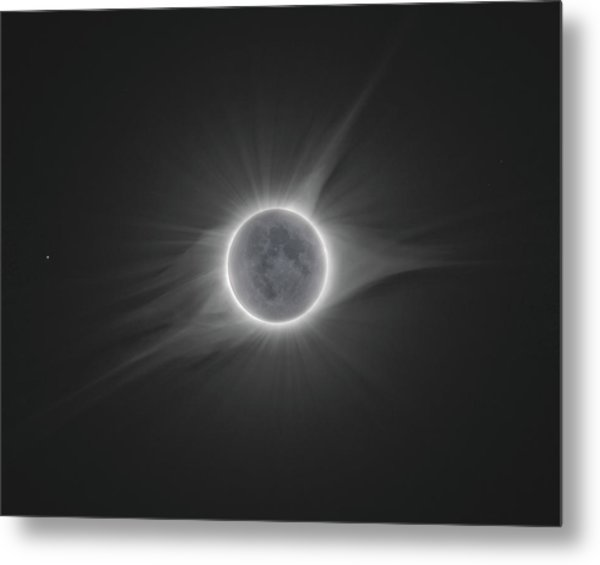 2017 Eclipse With Earth Shine Metal Print by Dennis Sprinkle