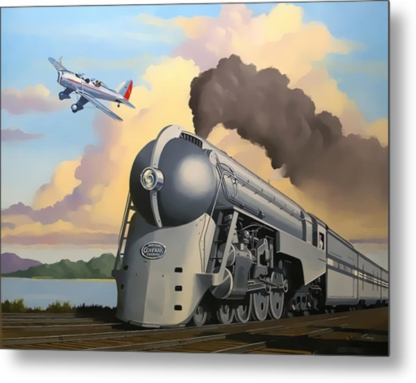 20th Century Limited And Plane Metal Print