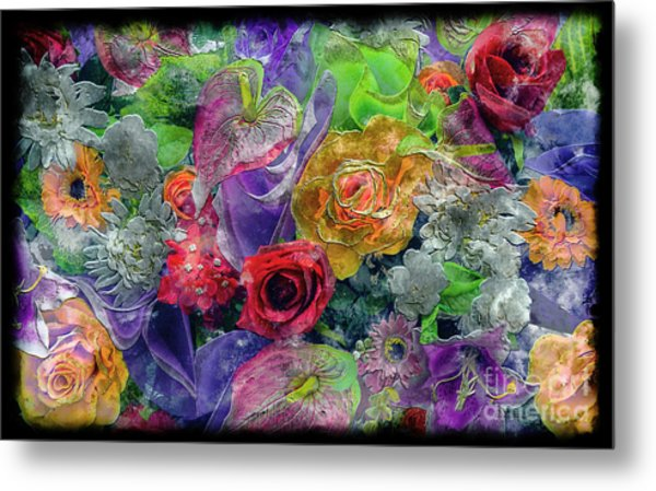 21a Abstract Floral Painting Digital Expressionism Metal Print