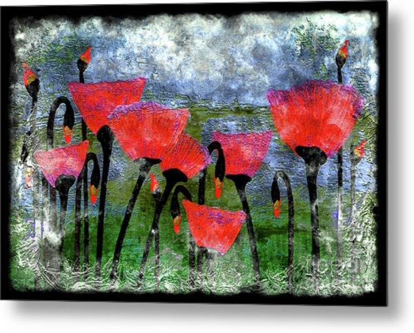 26a Abstract Floral Red Poppy Painting Metal Print