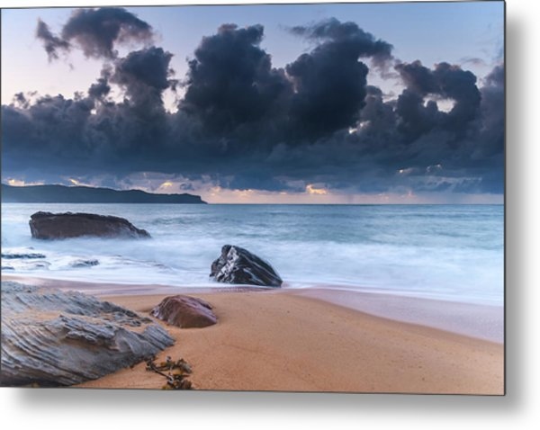 Sunrise Seascape With Clouds Metal Print