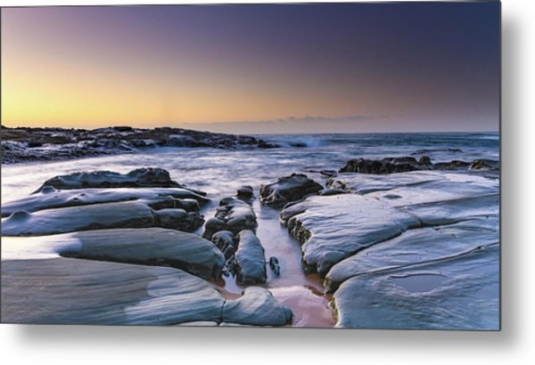 Sunrise Seascape And Rock Platform Metal Print