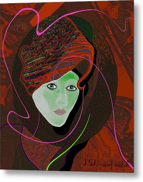 289 - Anna  With  Dark Red Cap Metal Print by Irmgard Schoendorf Welch