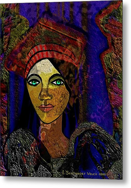 299 - Woman With Red Hat   Metal Print by Irmgard Schoendorf Welch