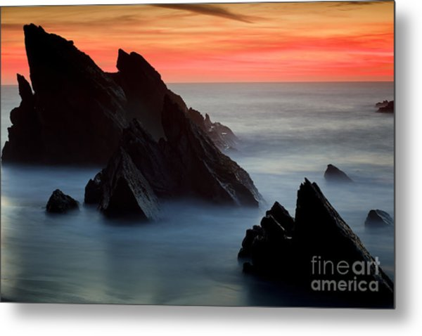 Adraga Beach In Sintra Natural Park Metal Print by Andre Goncalves