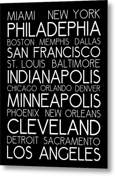 American Cities In Bus Roll Destination Map Style Poster Metal Print