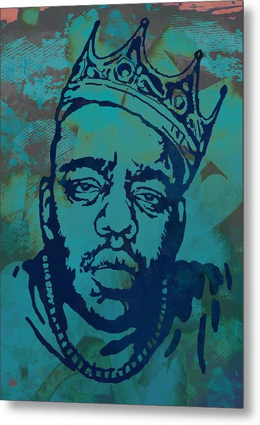 Biggie Smalls Modern Etching Art  Poster Metal Print