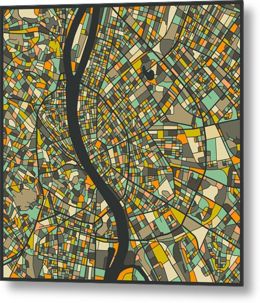 Budapest Map Metal Print
