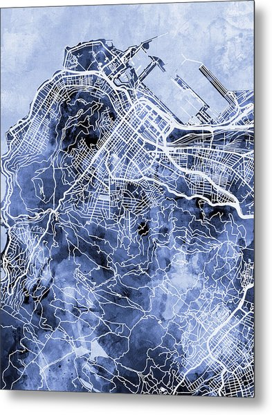 Cape Town South Africa City Street Map Metal Print