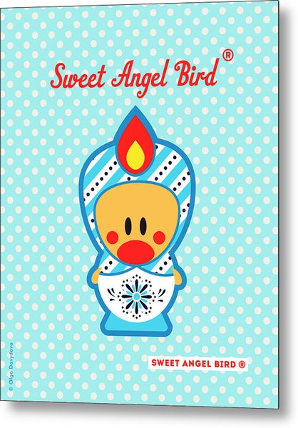 Cute Art - Blue Polka Dot Snowflake Folk Art Sweet Angel Bird In A Nesting Doll Costume Wall Art Print Metal Print