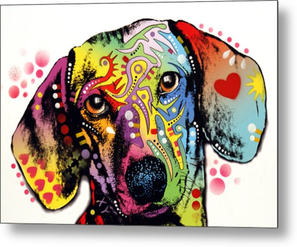 Tilt Dachshund Red Bubble Metal Print