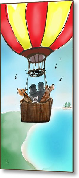 3 Dogs Singing In A Hot Air Balloon Metal Print